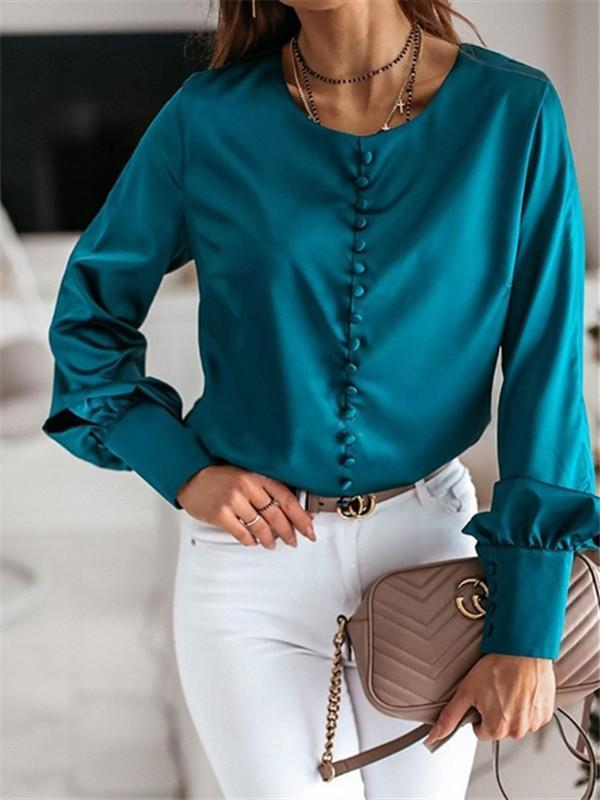 Massimoda Solid Button-Up Satin Blouse