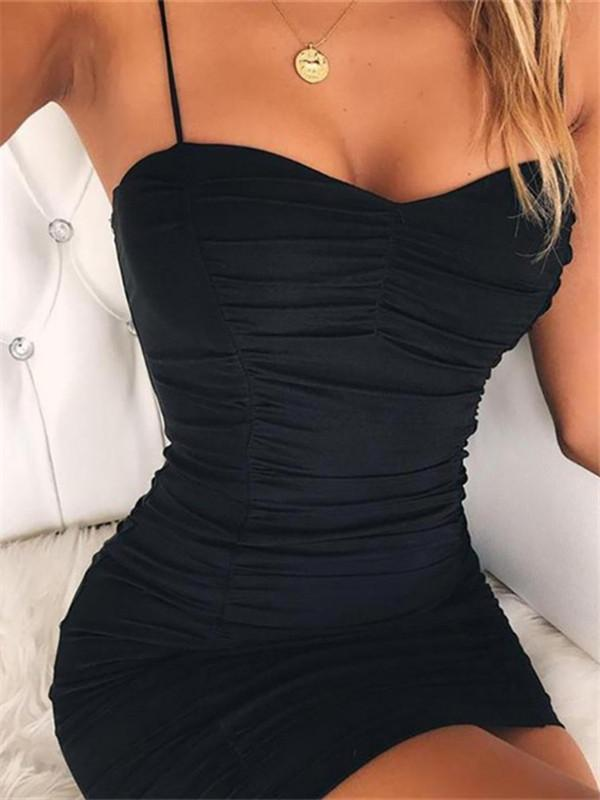 Massimoda Solid Spaghetti Strap Backless Ruched Dress