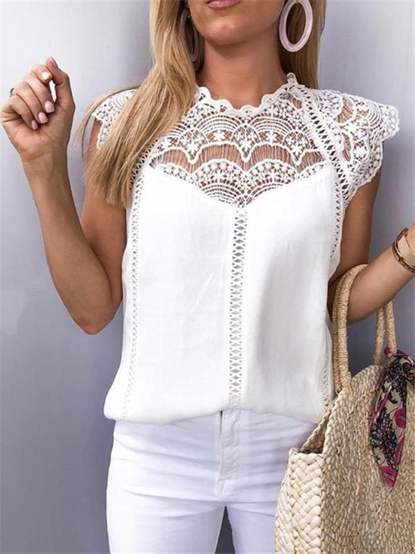 Massimoda Crochet Lace Trim Splicing Casual Blouse