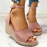 Massimoda Ankle Strap Espadrille Wedge Sandals