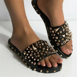 Massimoda Best Seller Gioni spiked studded black sandals