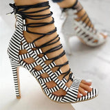 Massimoda Open Toed Lace-Up Thin Heeled Sandals