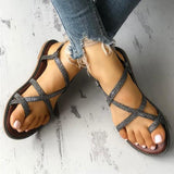 Massimoda Sparkle Crisscross Strappy Toe Post Flat Sandals