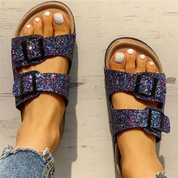 Massimoda Flip Flop Flat With Buckle Slip-On Summer Casual Slippers
