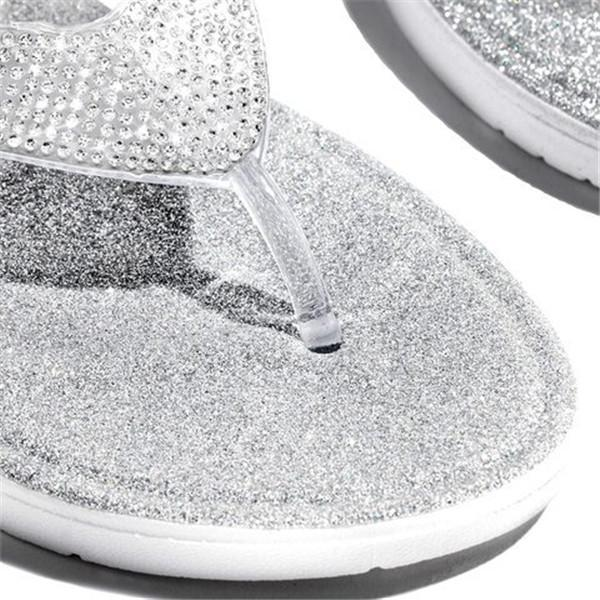 Massimoda Silver Summer Artificial Leather Rhinestone Seaside Slippers