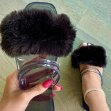 Massimoda Casual Solid Fur Upper Flat Sandals