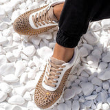 Massimoda Fashion Bling Lace Up Platform Sneakers