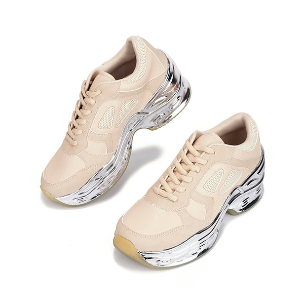 Massimoda Fall Winter Silver Color Edge Lace Up Sneakers