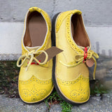 Massimoda Vintage Yellow Lace Up Flat Sneakers