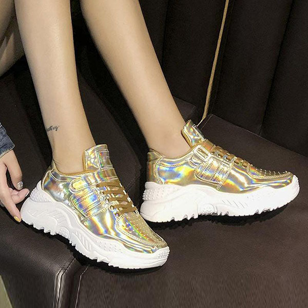 Massimoda Metallic All Season Lace-Up Sneakers
