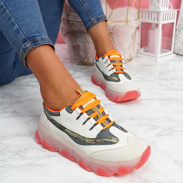 Massimoda Women Breathable Lace Up Chunky Sneakers