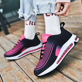 Massimoda Women Hit Color Stripes Platform Air Cushion Sneakers
