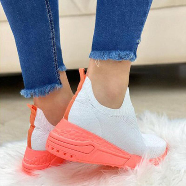 Massimoda Women Fabric Breathable Athletic Sneakers
