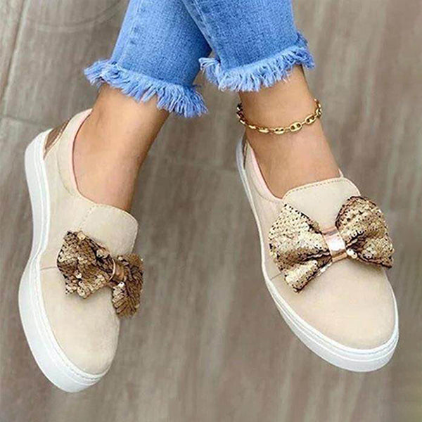 Massimoda Women Fashionable Bow Knot Sneakers