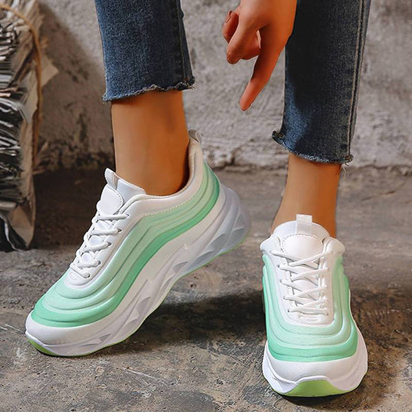 Massimoda Women Stylish Stripe Soft Platform Sneakers