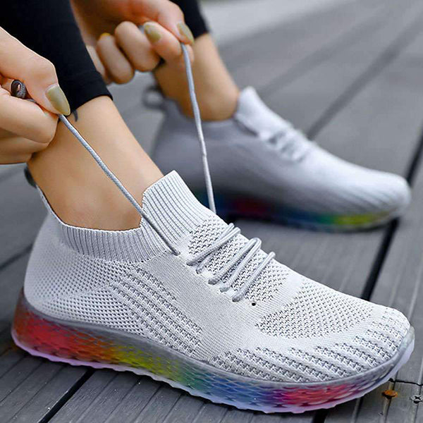 Massimoda Women Colorful Sole Breathable Sneakers
