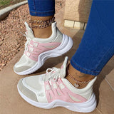 Massimoda Women Athletic Hit Color Breathable Platform Sneakers