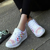 Massimoda Women Fashion Hit Color Lace Up Platform Sneakers