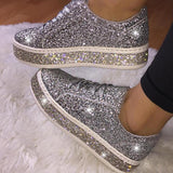 Massimoda Women Fashion Rhinestone Sequins Lace Up Sneakers