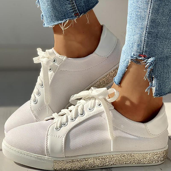 Massimoda Fashion Rhinestone Breathable Mesh Sneakers