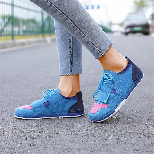 Massimoda Women Hit Color Lace-Up Flat Heel Sneakers