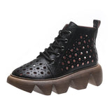 Massimoda Women Fashion Hollow-Out Breathable Platform Boots