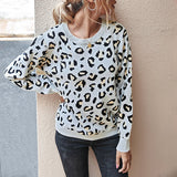Massimoda Round Neck Leopard Casual Sweater