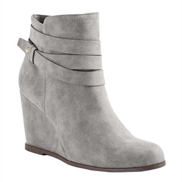 Massimoda Autumn Winter Fashion Suede Strap Zipper Wedge Boots