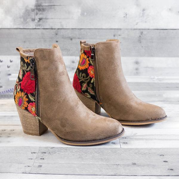 Massimoda Vintage Embroidered Chunky Heel Booties