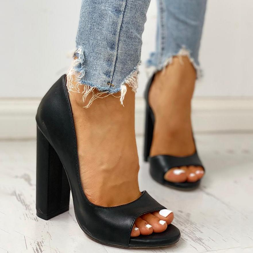 Massimoda Solid Peep Toe Casual Heeled Sandals