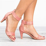 Massimoda Ankle Strap Mid Thin Heel Sandals