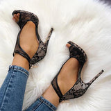 Massimoda Open Toe Cutout Lace Thin Heel Sandals