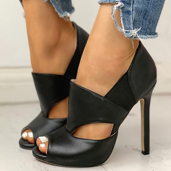 Massimoda Solid Hollow Out Design Peep Toe Thin Heels