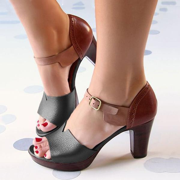 Massimoda Chunky Heel Ankle Strap Elegant Shoes Working Daily Shoes