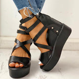 Massimoda Solid Multi-strap Peep Toe Muffin Sandals