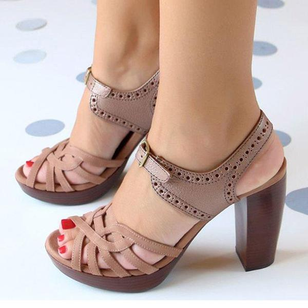 Massimoda Peep Toe Chunky Heel PU Casual Buckle Sandals
