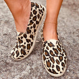 Massimoda Women Comfy Animal Print Espardille Flat Shoes