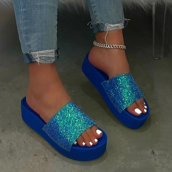 Massimoda Simple Glittering Summer Platform Wedge Sandals
