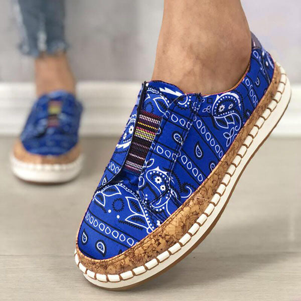 Massimoda Women Fabric Characteristic Patterns Hit Color Slip On Platform Sneakers