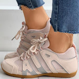 Massimoda Round Toe Colorblok Lace-Up Sneakers