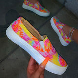 Massimoda Rainbow Tie-Dye Hit Color Slip-On Platform Sneakers