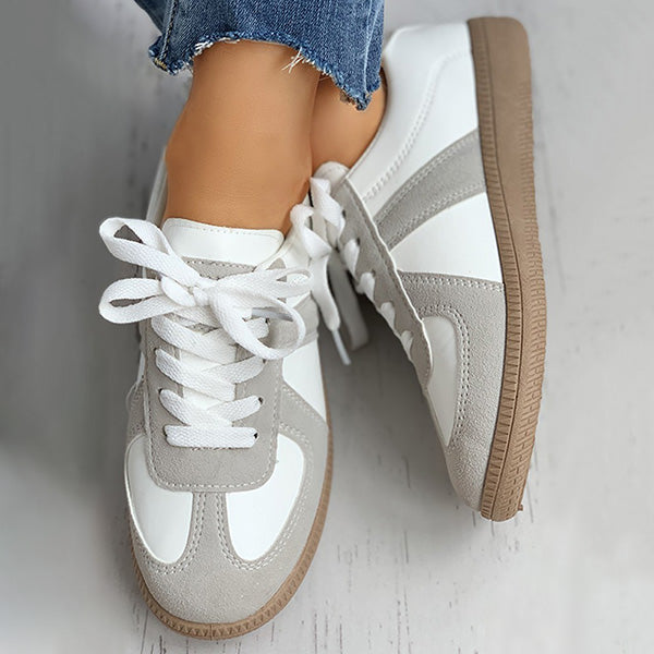 Massimoda Faux Suede Colorblock Lace-Up Sneakers