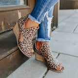 Massimoda Peep Toe Leopard Wedges Sandals