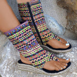 Massimoda Side Zipper Thong Wedge Heel Ethnic Sandals