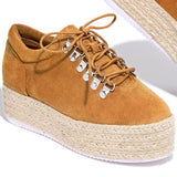 Massimoda Women Lace-Up Platform Casual Sneakers