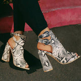 Massimoda Women Printed Hollow Out Heeled Sandals