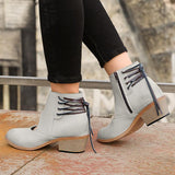Massimoda Women Back Lace Up Chunky Heel Boots