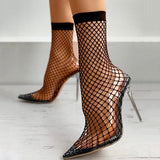 Massimoda Pointed Toe Fishnet Mesh High-Heels Sandals
