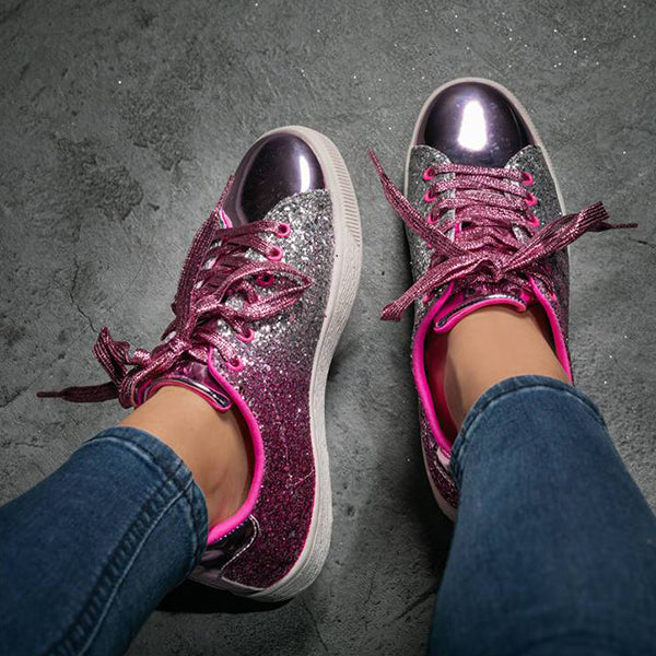 Massimoda Women Glitter Casual Lace-Up Sneakers
