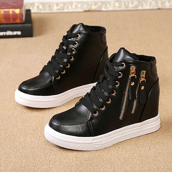 Massimoda Women Casual Chain Decoration Lace-Up Platform Sneakers